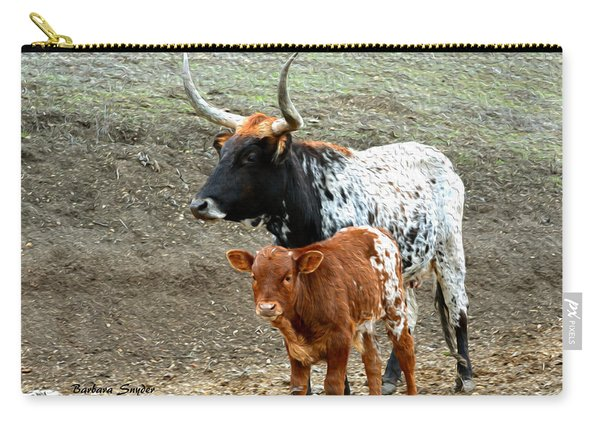 Mama And Baby Longhorn Painting 2 Carry-all Pouch