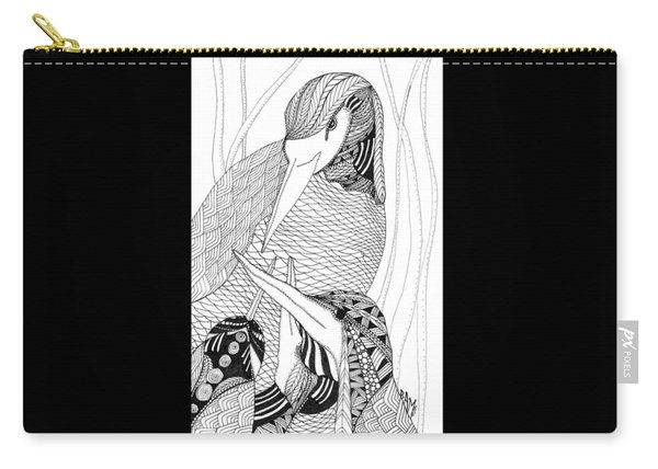 Carry-all Pouch featuring the drawing Mama Heron by Barbara McConoughey
