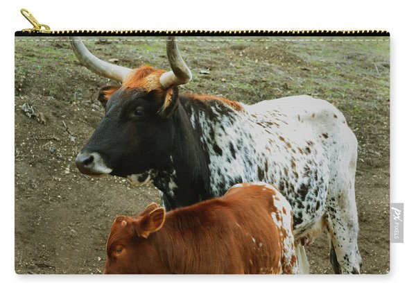 Mama Longhorn And Baby 2 Carry-all Pouch
