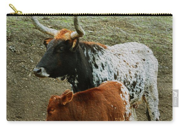 Mama Longhorn And Baby Painting Carry-all Pouch