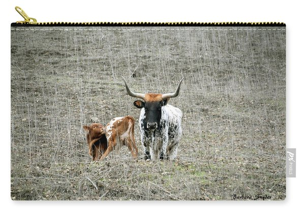 Mamma And Baby Longhorns Carry-all Pouch