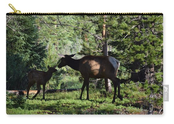 Carry-all Pouch featuring the photograph Elk Calf - Mother Rmnp Co by Margarethe Binkley