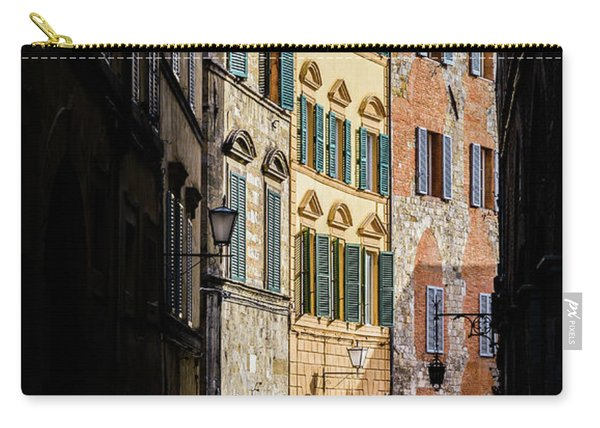 Man Walking Alone In Small Street In Siena, Tuscany, Italy Carry-all Pouch