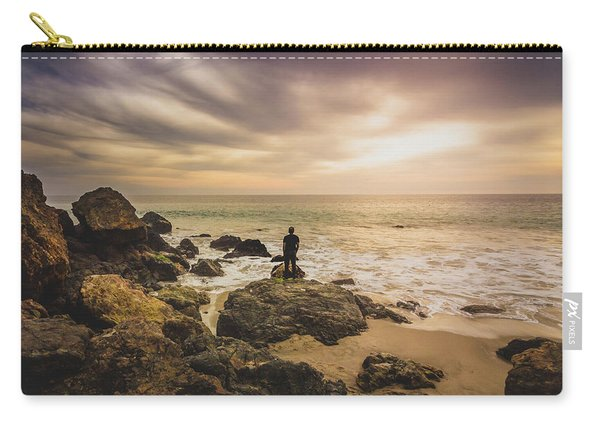 Man Watching Sunset In Malibu Carry-all Pouch