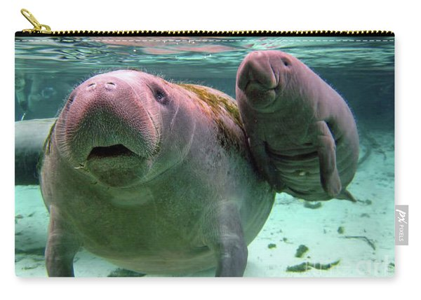 Manatee Mom And Calf Carry-all Pouch