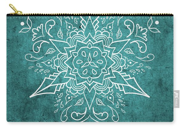 Mandala 3 Teal Carry-all Pouch
