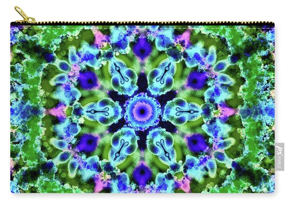 Mandala Floral Blue Green Carry-all Pouch