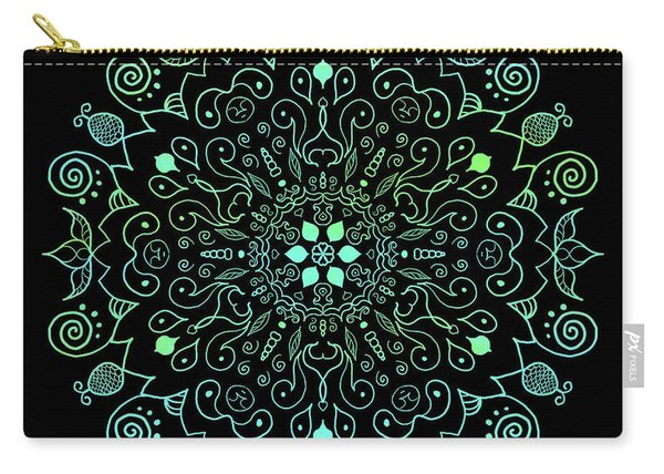 Mandala Teal And Black Carry-all Pouch