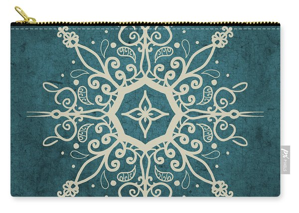 Mandala Teal And Tan Carry-all Pouch
