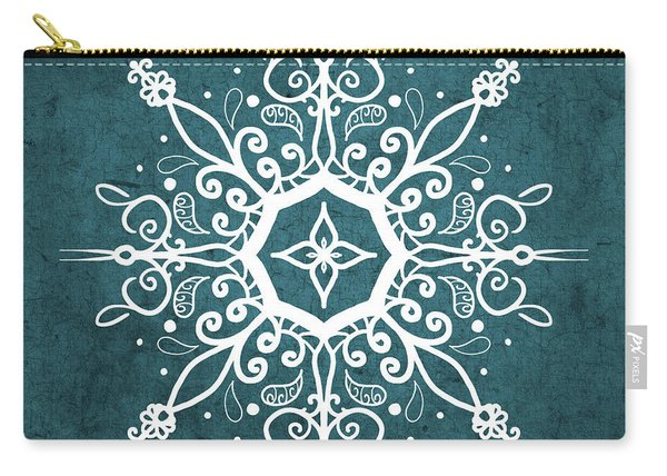 Mandala Teal And White Carry-all Pouch