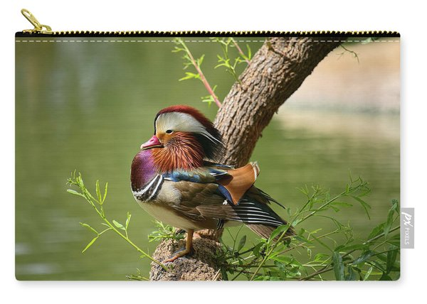 Mandarin Duck On Tree Carry-all Pouch