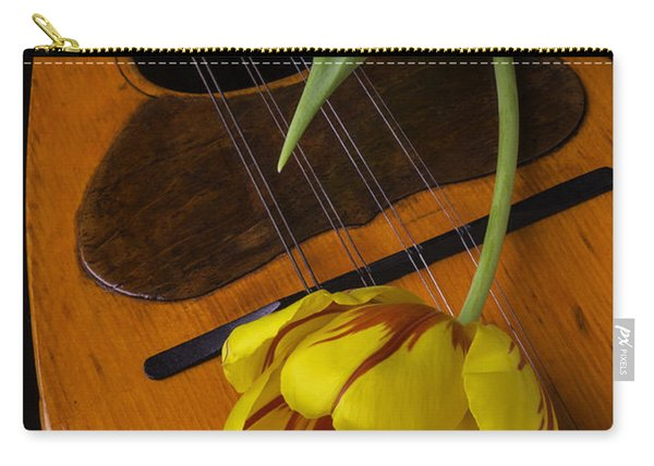 Mandolin With Red And Yellow Tulip Carry-all Pouch