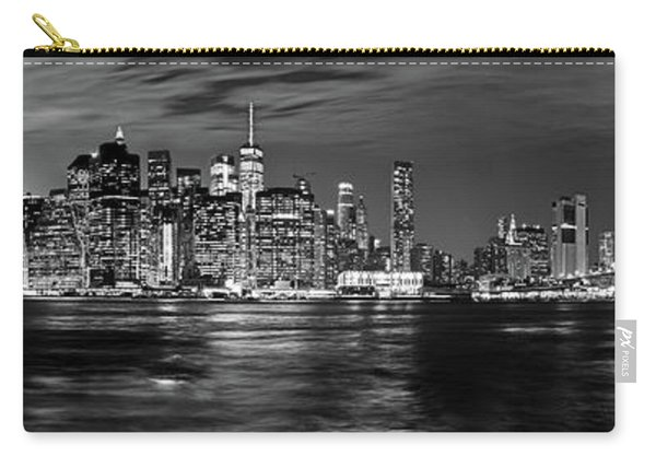 Manhattan Skyline At Dusk From Broklyn Bridge Park In Black And  Carry-all Pouch