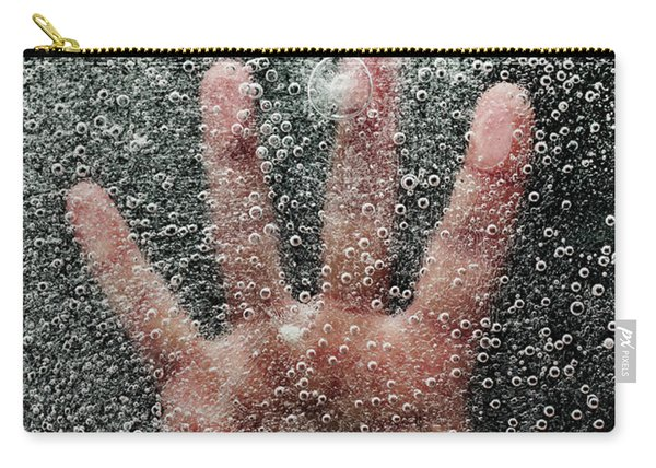 Mans Hand Below Frozen Lake Drowning Carry-all Pouch