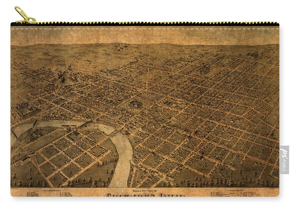 Map Of Columbus Ohio Vintage Street Schematic Birds Eye View On Worn Parchment Carry-all Pouch