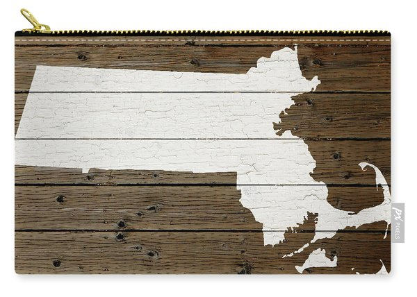 Map Of Massachusetts State Outline White Distressed Paint On Reclaimed Wood Planks Carry-all Pouch