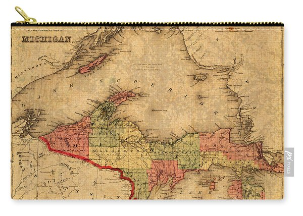 Map Of Michigan Upper Peninsula And Lake Superior Vintage Circa 1873 On Worn Distressed Canvas  Carry-all Pouch