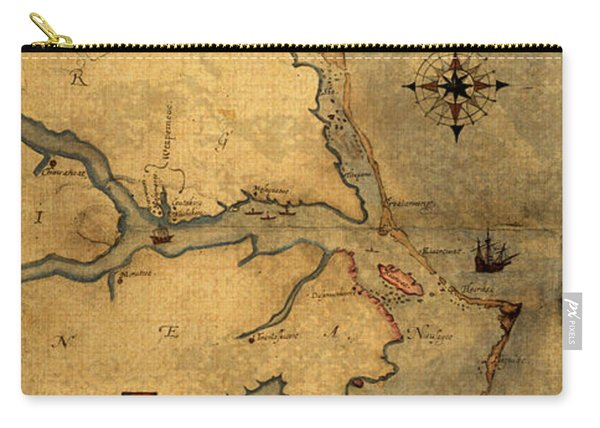 Map Of Outer Banks Vintage Coastal Handrawn Schematic On Parchment Circa 1585 Carry-all Pouch