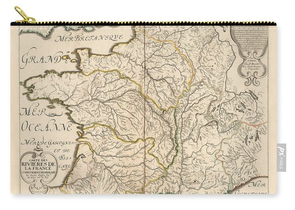 Map Of The Rivers Of France - Historic Map Of France - Antique Maps Carry-all Pouch