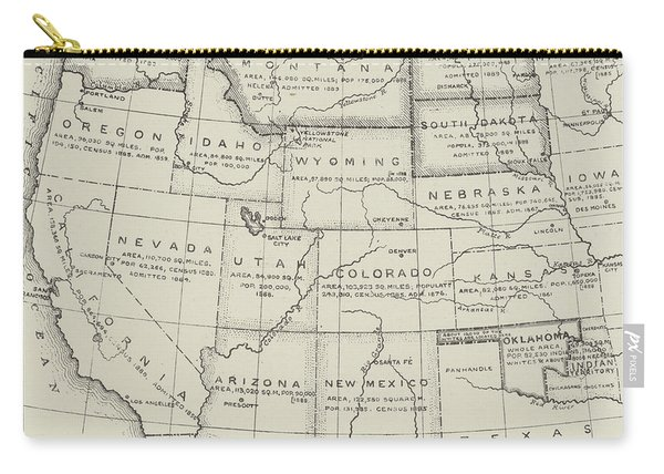 Map Of The Western States Of America Carry-all Pouch