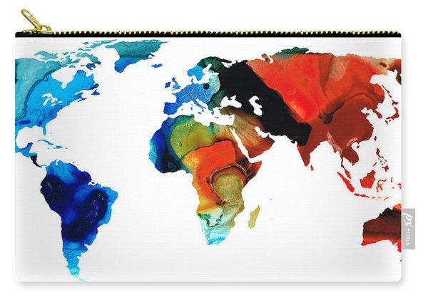 Map Of The World 3 -colorful Abstract Art Carry-all Pouch