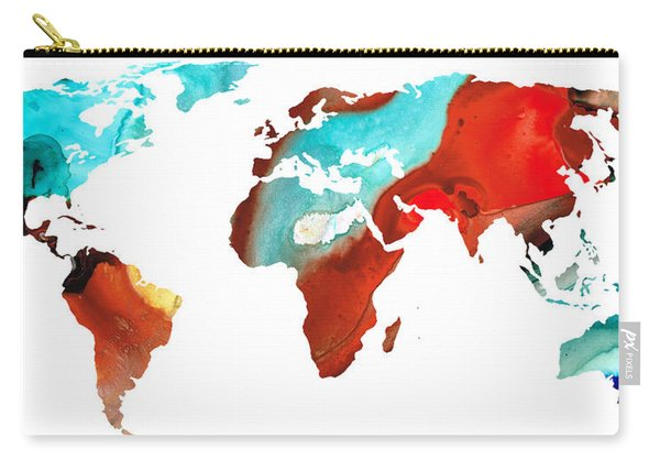 Map Of The World 4 -colorful Abstract Art Carry-all Pouch