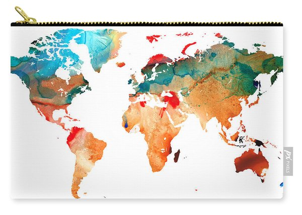 Map Of The World 7 -colorful Abstract Art Carry-all Pouch