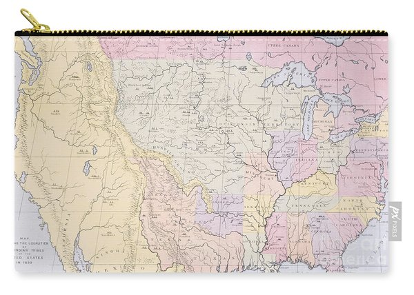 Map Showing The Localities Of The Indian Tribes Of The Us In 1833 Carry-all Pouch