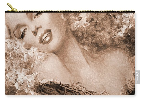 Marilyn Cherry Blossoms, Sepia Carry-all Pouch