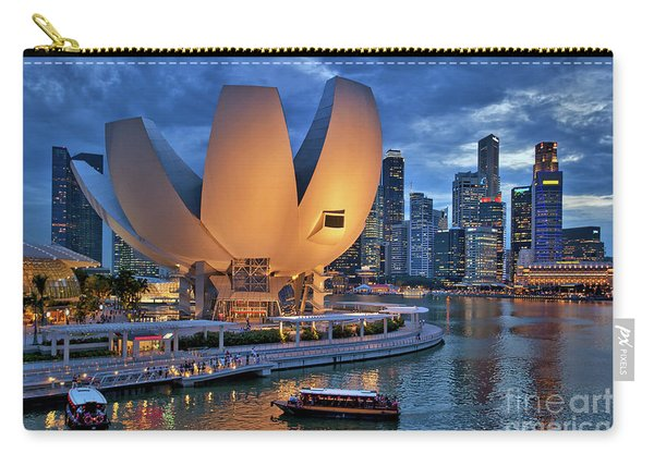 Carry-all Pouch featuring the photograph Marina Bay Sands Resort With The Singapore Skyline by Sam Antonio Photography