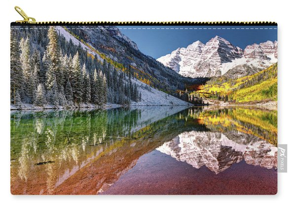 Olena Art Sunrise At Maroon Bells Lake Autumn Aspen Trees In The Rocky Mountains Near Aspen Colorado Carry-all Pouch