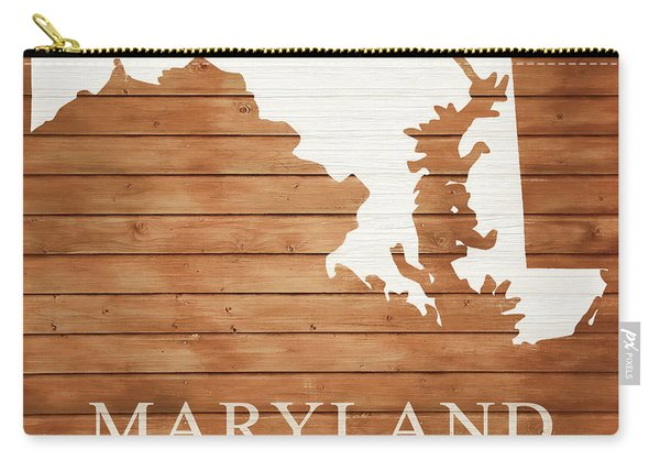Maryland Rustic Map On Wood Carry-all Pouch