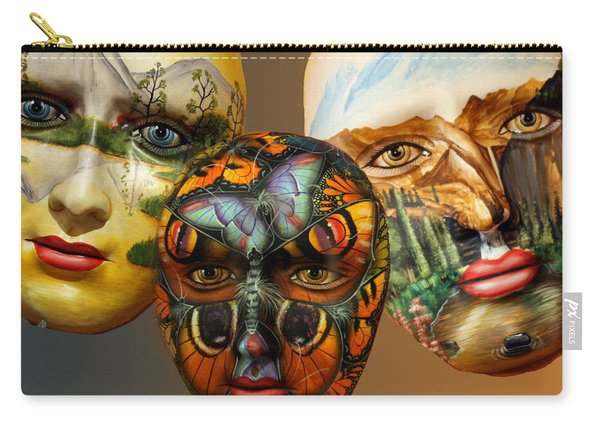 Masks On The Wall Carry-all Pouch