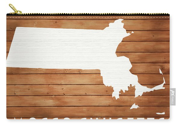 Massachusetts Rustic Map On Wood Carry-all Pouch