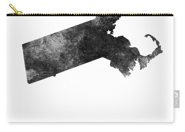 Massachusetts State Map Art - Grunge Silhouette Carry-all Pouch