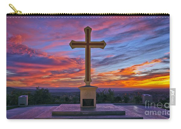 Carry-all Pouch featuring the photograph Christian Cross And Amazing Sunset by Sam Antonio Photography