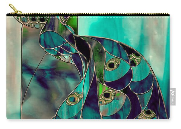 Mating Season Stained Glass Peacock Carry-all Pouch