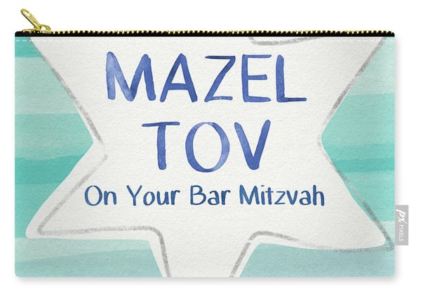 Mazel Tov On Your Bar Mitzvah-  Art By Linda Woods Carry-all Pouch