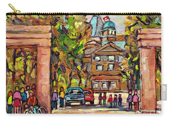Mcgill Gates  Entrance Of Mcgill University Montreal Quebec Original Oil Painting Carole Spandau Carry-all Pouch