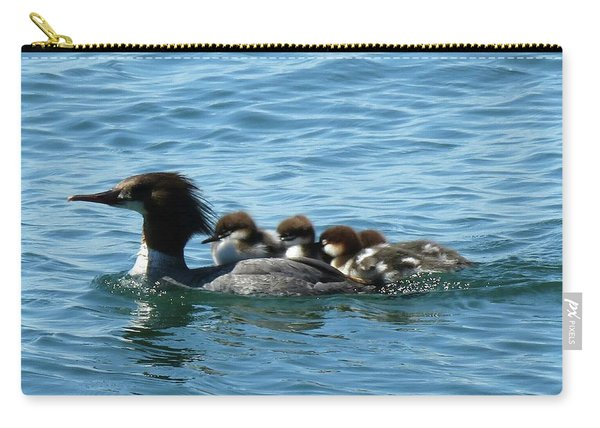 Merganser And Her Chicks Carry-all Pouch