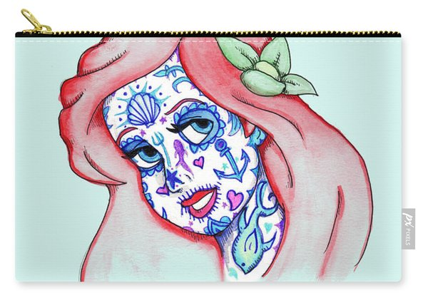 Mermaid Sugar Skull Carry-all Pouch