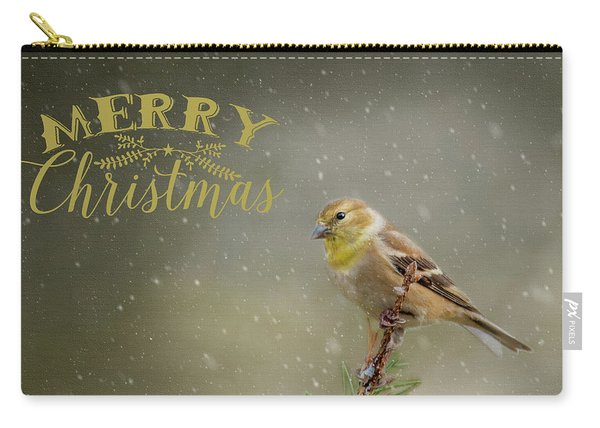 Merry Christmas Winter Goldfinch 1 Carry-all Pouch