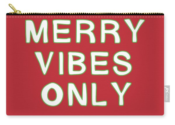 Merry Vibes Only Red- Art By Linda Woods Carry-all Pouch