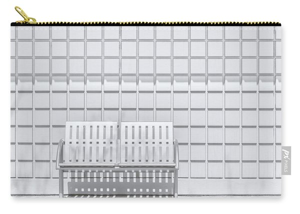 Metal Bench Against Concrete Squares Carry-all Pouch