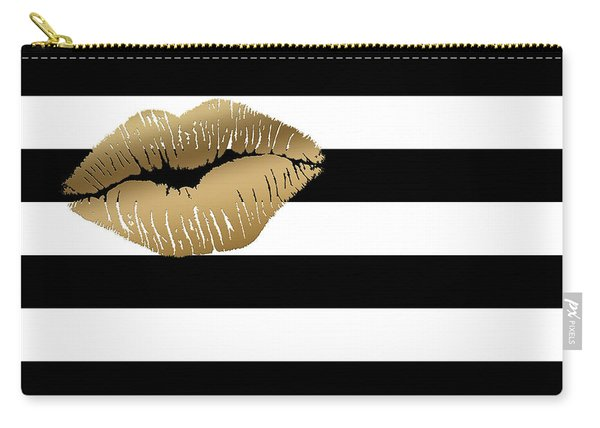 Metallic Gold Lips Black And White Stripes Carry-all Pouch