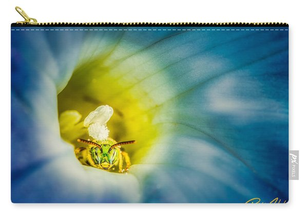 Metallic Green Bee In Blue Morning Glory Carry-all Pouch