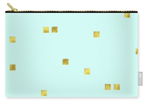 Metallic Square Confetti Print, Gold Squares On Aqua Carry-all Pouch