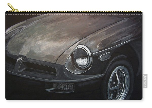 Carry-all Pouch featuring the painting Mgb Rubber Bumper Front by Richard Le Page