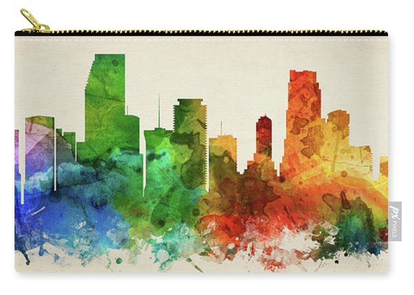Miami Skyline Panorama Usflmi-pa03 Carry-all Pouch
