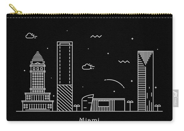 Miami Skyline Travel Poster Carry-all Pouch